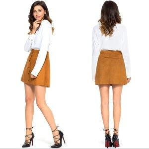 Tan faux suede button-up skirt